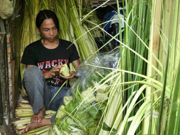 Muslims in indonesia celebrating eid traditional halal food
