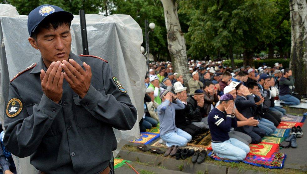 Muslims celebrating eid in krygyztan
